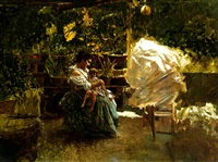 a mother with her child on a veranda by salvatore postiglione