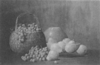 grapes, pears and a basket by leonard woodruff