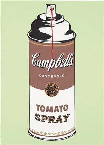 tomato spray on canvas by mr brainwash