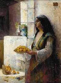 gypsy girl with a platter of fruit by lucie billet