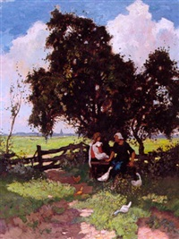 twee meisjes onder bomen by jan kagie