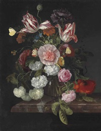 parrot tulips, snowballs, roses, a poppy and other flowers in a glass vase, on a marble ledge, with two brimstone butterflies by cornelis kick