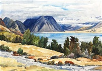 south island lake scene by peggy spicer