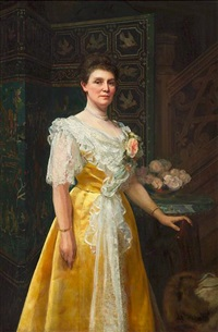 a portrait of a woman in a yellow dress, beside a bouquet of roses and an asian screen by william clarke wontner