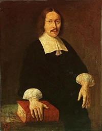 portrait of rudolfus capellus, small three-quarter-length, in black costume with a lawn collar, at a drapped table with his right hand resting on a bible by abraham snaphaen