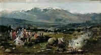paisaje con personajes by eugenio lucas villamil