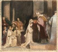 l'adoration (+ la prise d'habit; 2 works from deux scènes de la vie de sainte geneviève) by alexandre-jean-baptiste hesse