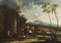 landskap med herdar och herdinnor by johannes van der bent