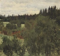 an extensive wooded landscape by andrei nikolaevich shilder