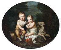 deux jeunes enfants avec un chien, une perruche et des cerises dans un paysage by antoine vestier