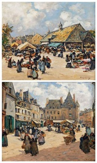 le marché à pontivy et le marché du faouët (pair) by fernand marie eugène legout-gérard