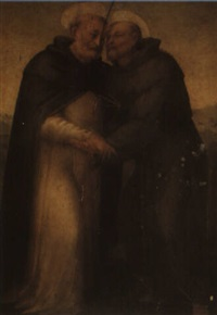 st. francis and st. dominic embracing by francesco granacci