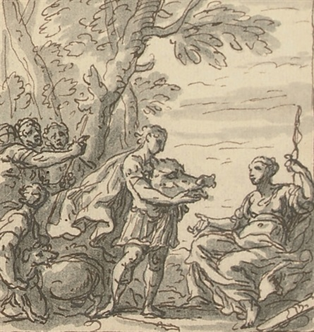 meleager presenting atalanta with the boar's head (study for the staircase mural at sherbourne house, dorset) by sir james thornhill