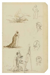 têtes, figures et feuillages (study) by caspar david friedrich