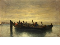 a group of figures in boats by a. vescovi