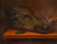 têtes de gibier et légumes sur une table (2 works) by johann adalbert angermayer