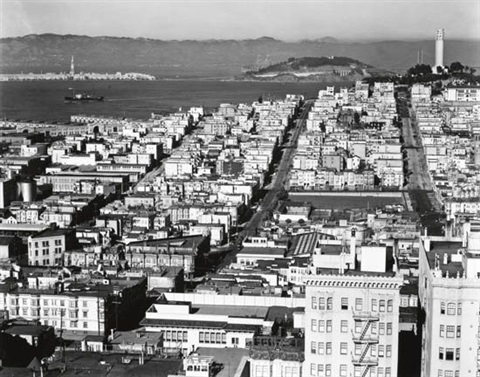 rooftops and bay san francisco by brett weston