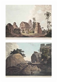 sculptured rocks, at mavalipuram, on the coast of coromandel; the entrance of an excavated hindoo temple, at mavalipuram and others (12 works) by thomas daniell
