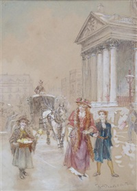 flower sellers, piccadilly and flower sellers, st. martin in the fields (pair) by walter duncan