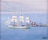 danish square rigger off gourock by norman edgar
