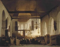 a service in the geertekerk, utrecht by johannes bosboom