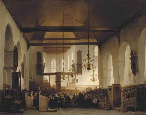 a service in the geertekerk utrecht by johannes bosboom