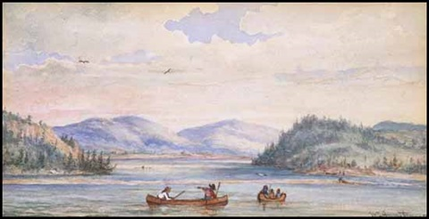 indians canoeing by william wallace armstrong
