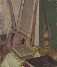 studio interior with oil lamp by harold gilman