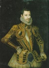 ritratto di emanuele filiberto, duca di chambery, in armatura da parata ornata dal nodo savoia by giacomo (jacopo) d' argenta