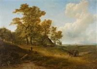 holländische landschaft mit bauernstaffage, am horizont die silhouette einer stadt by pieter lodewijk francisco kluyver