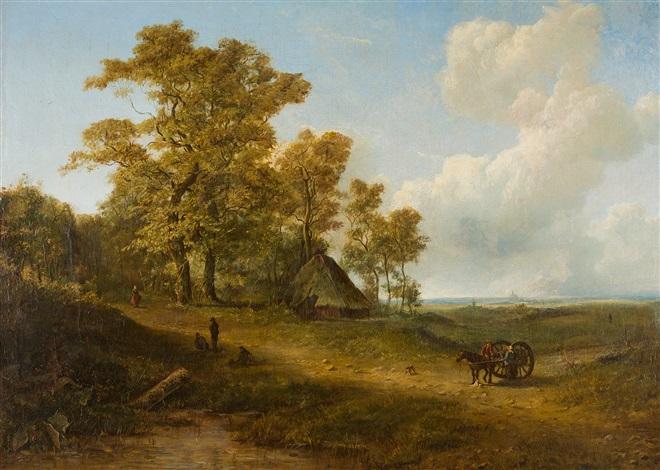 holländische landschaft mit bauernstaffage am horizont die silhouette einer stadt by pieter lodewijk francisco kluyver