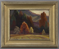fall mountain scene by olin herman travis