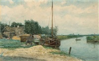 moored boats on the eem, baarn by johan conrad greive