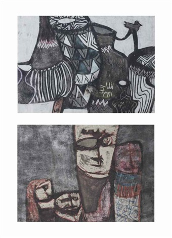 still life (+ figures; 2 works) by nazir ismail