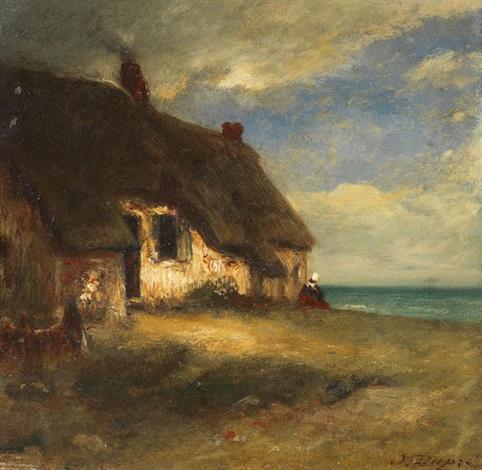 chaumière au bord de la mare avec paysanne assise by jules dupré