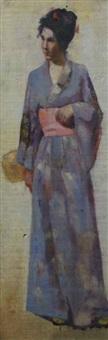 young woman in a kimono by australian school (19)