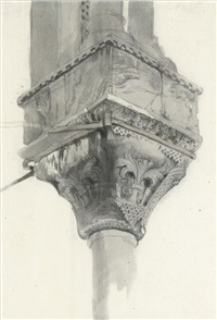 study of a basket and lily capital, basilica di san marco, venice by john ruskin
