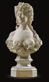 bust of a girl with flowers by cesare fantacchiotti