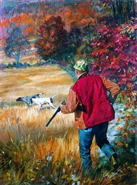 autumn hunter and pointers by stanley meltzoff