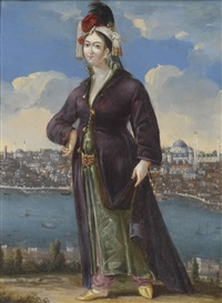 a lady in greek dress before the golden horn, wearing a turban adorned with pearls and a feather by georges de la chappelle