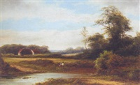 young anglers in a wooded landscape by r. percy