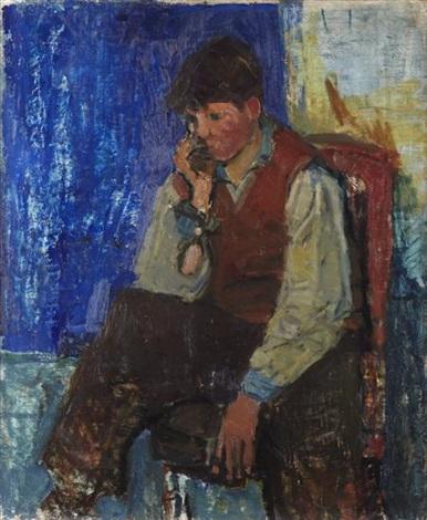 pensive boy by joan kathleen harding eardley