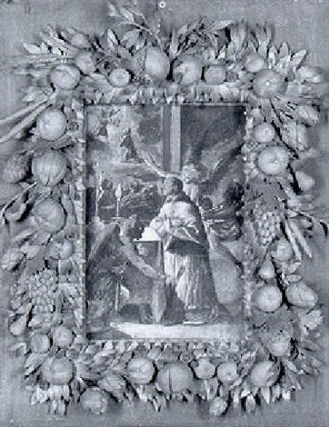 saint carlo borromeo praying at an altar experiencing a vision of christ in the garden of gethsemane by bartolome carducho carducci
