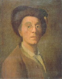 portrait of the artist wearing a brown coat, white chemise, fur-trimmed cap and pince-nez by johann christian fiedler