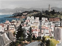 view of coit tower and the bay bridge, san francisco by jade fon