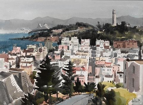 view of coit tower and the bay bridge san francisco by jade fon