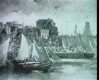 ansicht einer hafenstadt mit segelschiffen by otto hussell