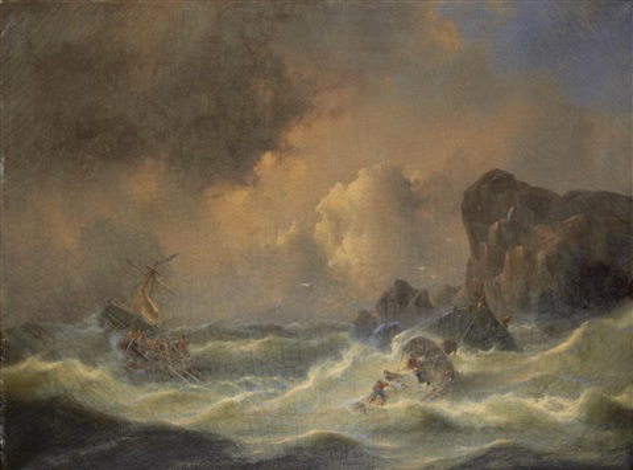 a ship in distress by govert van emmerik