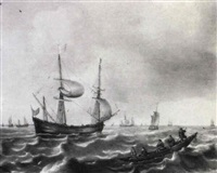 a merchantman and other vessels with figures in a rowing  boat in choppy seas by justus verwer