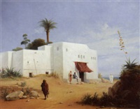 figures by a house in the middle east by ferdinand wachsmuth